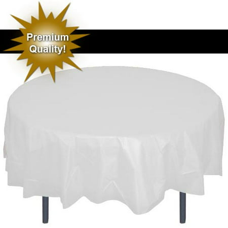 "Exquisite 12 Pack 84"" Round Tablecloth Covers Bulk - White Disposable Plastic Tablecloths - Heavy Duty Premium Plastic Disposable Table Cloths - Yellow And Gray Party Supplies"