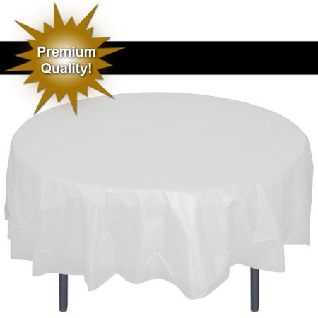 "Exquisite 12 Pack 84"" Round Tablecloth Covers Bulk - White Disposable Plastic Tablecloths - Heavy Duty Premium Plastic Disposable Table Cloths - Pink Plastic Plates"