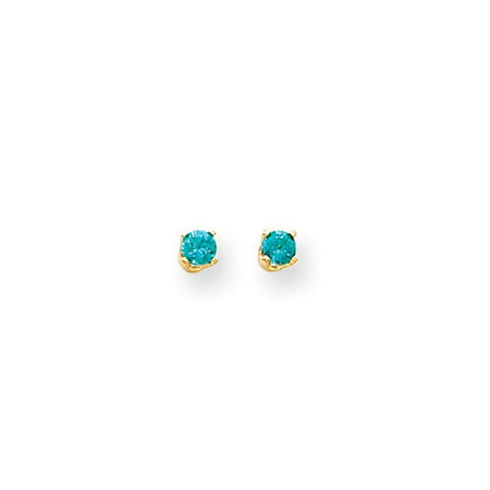 49cbc0dda Black Bow Jewelry Company - Kids 3mm Blue Zircon Screw Back Stud Earrings  in 14k Yellow Gold - Walmart.com