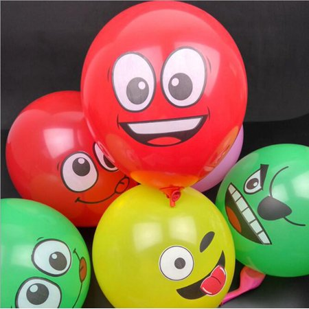 20pcs Balloon Thickened 12 Inch Latex Smiley Face Balloon Random Style Colour:Random - Smiley Face Balloons