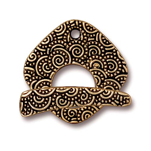Antiqued 22K Gold Plated Pewter Large Spiral Square Toggle Clasp Set 22mm (1)