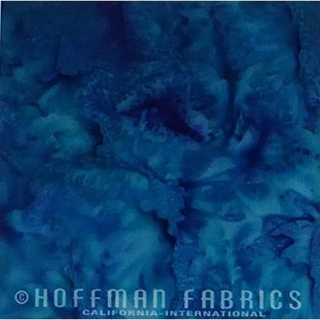 Indonesian Batik Fabrics - Celestials Teal Bali Batik Hand-Dyed 1895-549 Watercolor Fabric by Hoffman