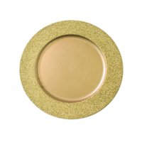 """Decorative Glitter Border Charger Plate, 13"""" Round Holiday Tabletop Charger Plate, Gold"""