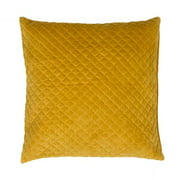 "22"" Solid Marigold Yellow Quilted Decorative Throw Pillow"