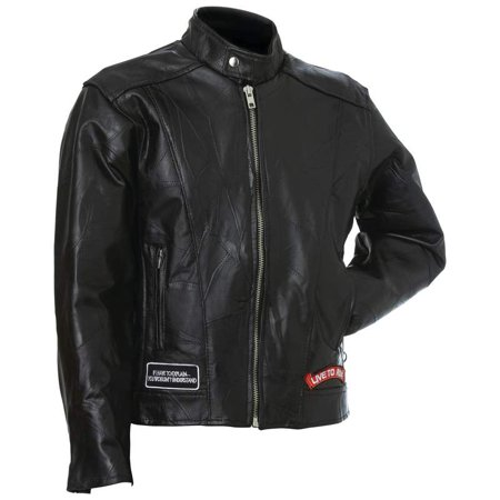 Diamond Plate™ Rock Design Genuine Buffalo Leather Motorcycle Jacket - Medium - GFCRLTRM ()