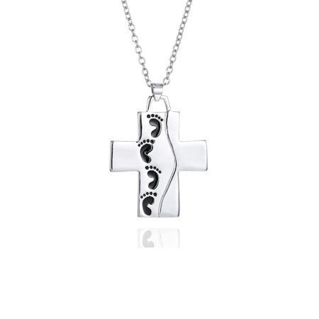 Emma Manor 14k White Gold Plated Foot Print Cross Engraved Pendant Necklace For (Engraved Gold Necklace)