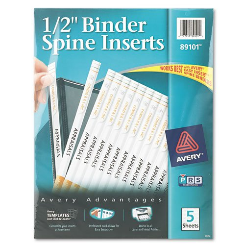 "Avery Spine Insert - For Inkjet, Laser Print0.50"" - 80 / Pack - White (AVE89101)"
