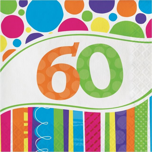Bright And Bold 60th Birthday Napkins, 18pk