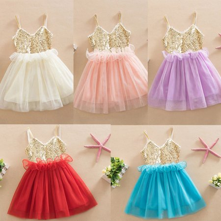 Fancy Dress Toddler (Sequins Princess Baby Girl Dress Lace Tulle Party Gown Fancy Dresses)