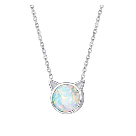 Fancime Sterling Silver Tiny Dot White Created Opal Pendant Necklace Round Disc Cat Necklace Jewerly For Women Girls 18