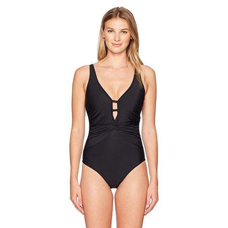 Athena Women's Twist Front One Piece Swimsuit, Cabana Solids Black, SZ X-Large (Athena Top In Black)