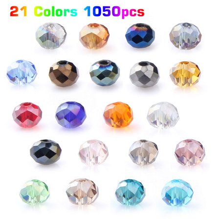 EEEkit 1050pcs Crystals Wholesale Crystal Glass Beads, 6mm 21 Colors Briolette Spacer Beads Faceted Shape AB Colourful Beads with Container Box Bead for DIY Craft Bracelet Necklace Jewelry Making Glass Beads 6mm Crystal