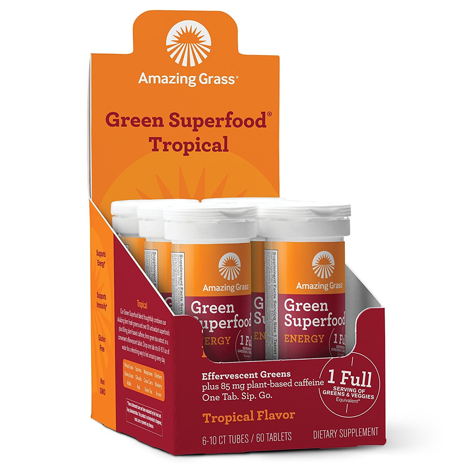 Amazing Grass Energy Green Superfood Effervescent Tablets, Tropical, 60 Ct