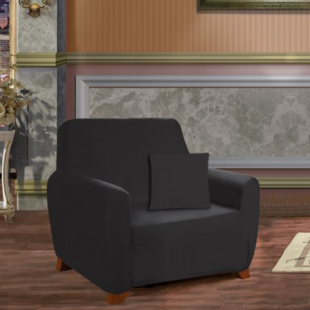 Elegant Comfort Collection Luxury Soft Furniture Jersey STRETCH SLIPCOVER, Sofa Black - image 2 de 2