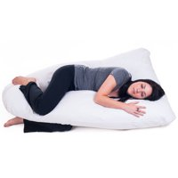 "Pregnancy Pillow, Full Body Maternity Pillow with Contoured U-Shape by Bluestone, Back Support-Lavish Home-White-60"" x 38"" x 7"""