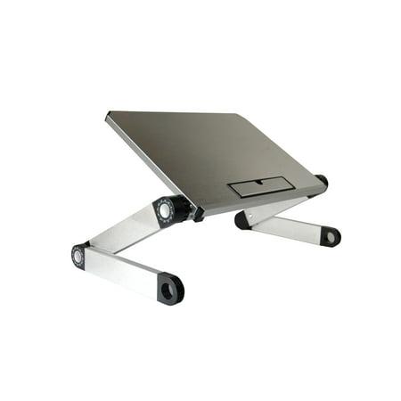 WorkEZ LIGHT Ergonomic Portable Lightweight Folding Aluminum Laptop Cooling Stand & Lap Desk Tray for Bed Couch. Adjustable height angle tilt notebook computer macbook desktop riser table-top holder Laptop Notebook Holder