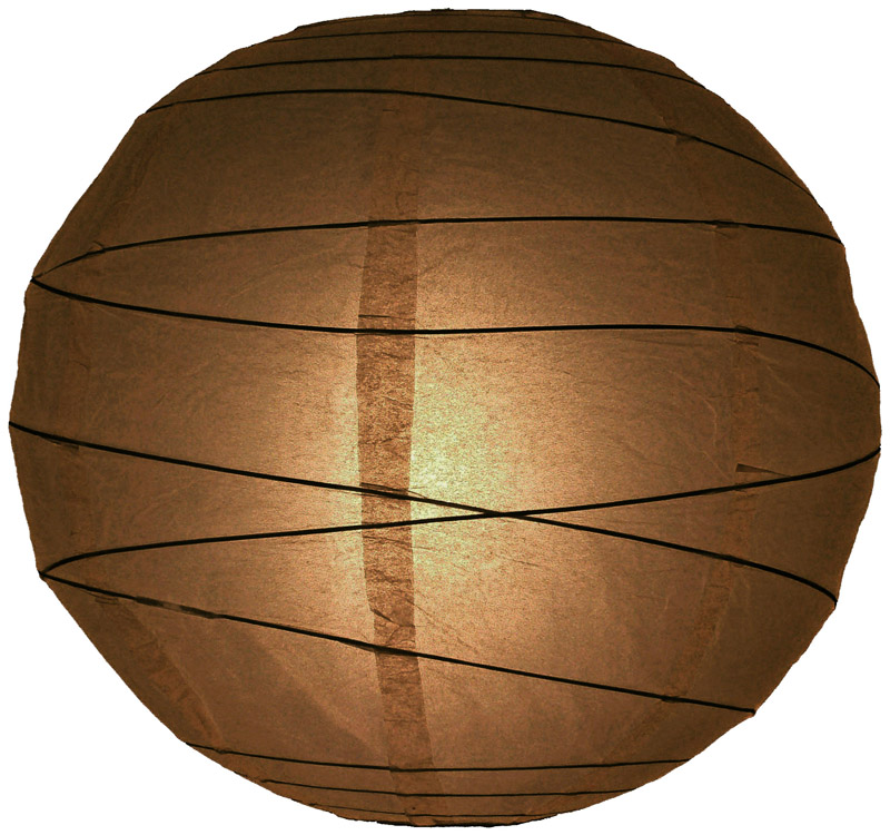 "10"" Brown Round Paper Lantern, Crisscross Ribbing, Hanging Decoration"