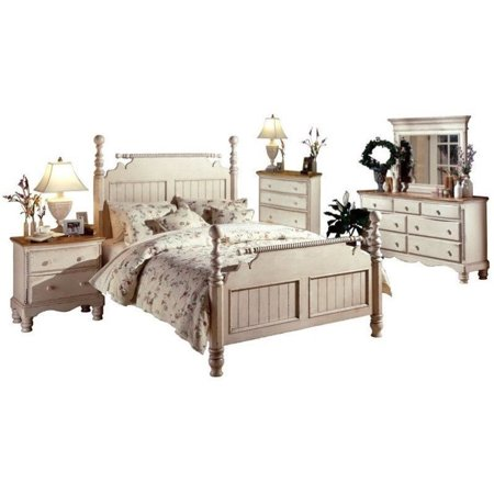 Hillsdale Wilshire 5 Piece Bedroom Set in Antique White-King