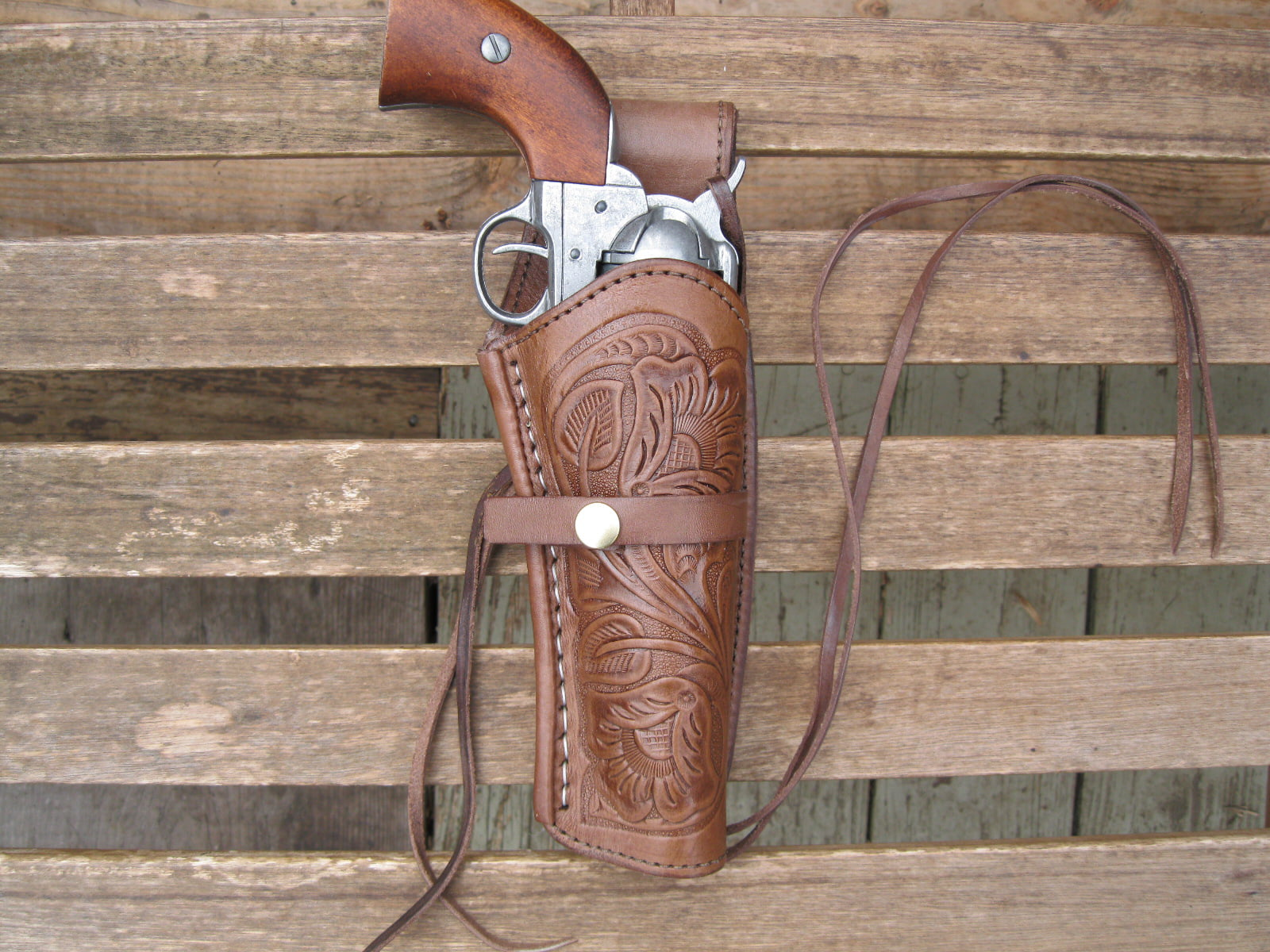 "Gun Holster Tooled Right Handed Black 45 Caliber Leather 6/"" Barrel"