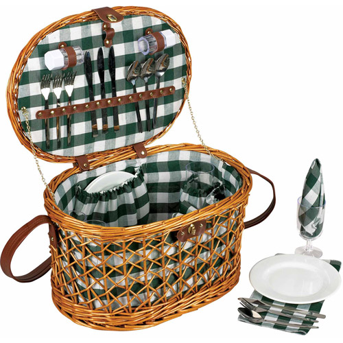 Household Essentials Willow Picnic Basket, Service for 4
