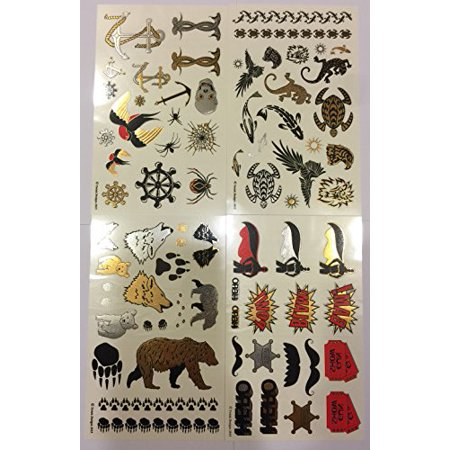 Twink Designs - Fun Metallic Temporary Tattoos for Kids (Boys and