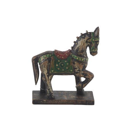 Decmode Traditional 9 X 7 Inch Wood And Brass Horse Sculpture With