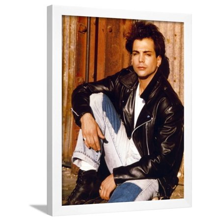 Richard Grieco Seated In Black Leather Jacket Framed Print Wall Art