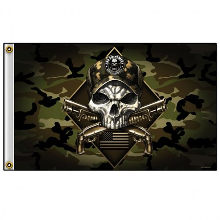 2ND AMENDMENT CAMOUFLAGE SKULL - Outdoor Biker FLAG, Original Artwork, 3' X 5'
