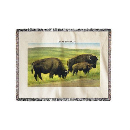South Dakota   View Of Buffalo  Monarchs Of The Plains  60X80 Woven Chenille Yarn Blanket