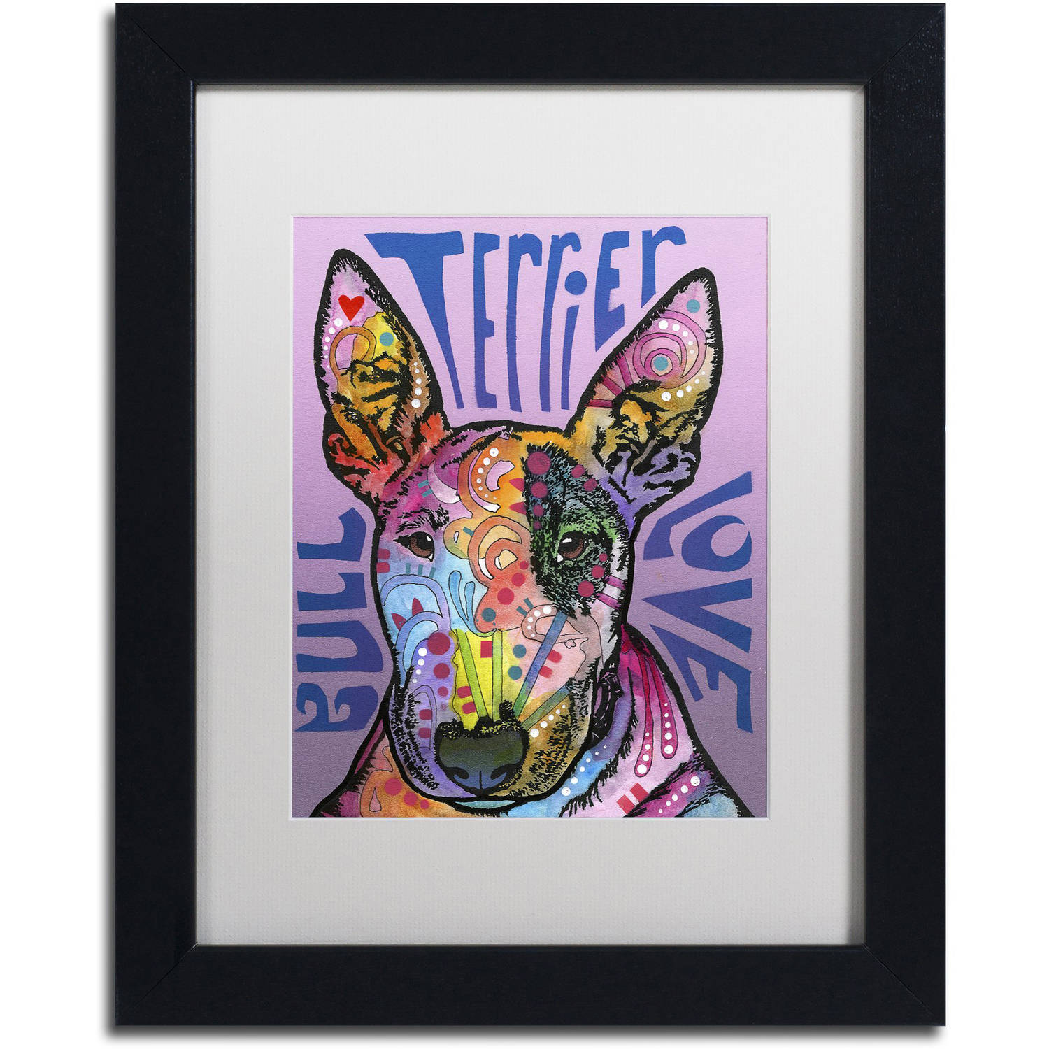Trademark Fine Art 'Bull Terrier Luv' Canvas Art by Dean Russo, White Matte, Black Frame