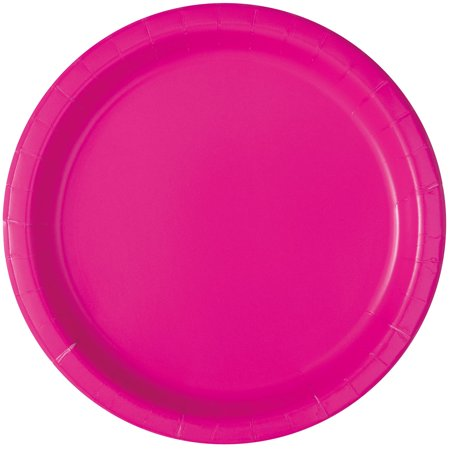 Neon Pink Paper Dessert Plates, 7in, - Cheap Neon Party Supplies