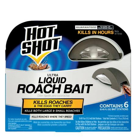 Hot Shot Ultra Liquid Roach Bait, Child-Resistant Bait Station, 6-Count Roach Bait Stations