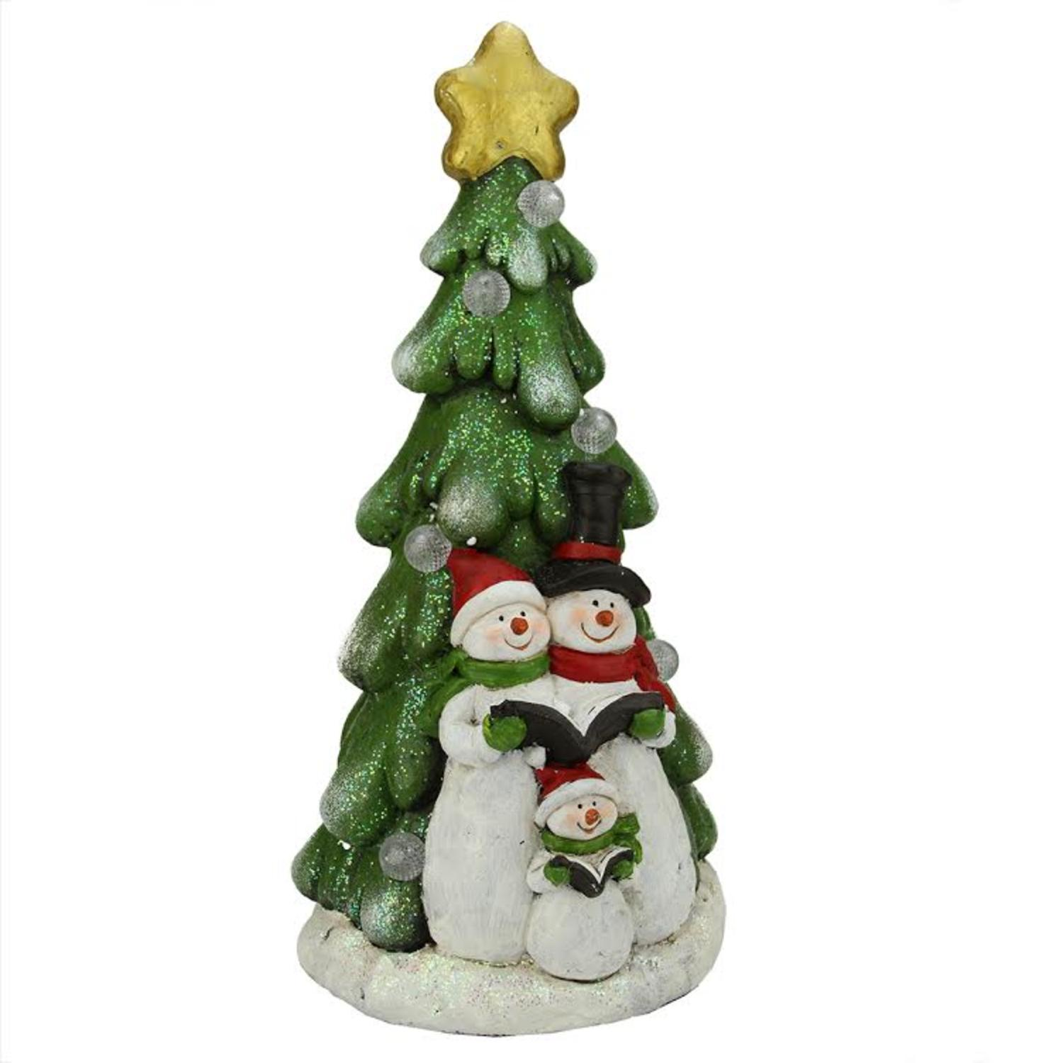 "19.5"" Battery Operated LED Lighted Snowmen and Christmas Tree Table Top Decoration"