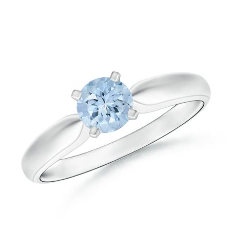 March Birthstone Ring - Solitaire Round Aquamarine Tapered Shank Ring in Platinum (5mm Aquamarine) - SR0245AQ-PT-AA-5-9
