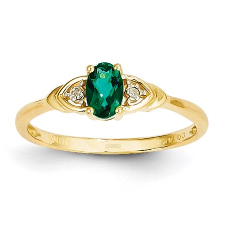 (14k Yellow Gold 6x4 Oval Diamond & Genuine Emerald Ring. Gem Wt- 0.35ct)