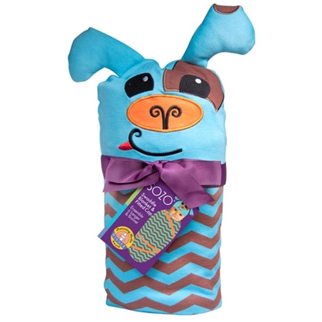 SOZO Chevron Puppy Swaddle Blanket & Cap Set