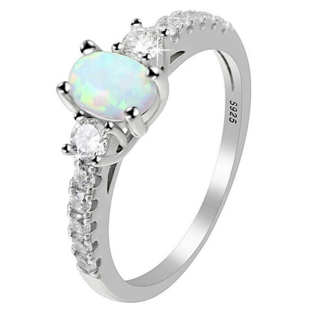 Opal October Birthstone Ring (Ginger Lyne Collection Emily Oval Lab Created Opal Sterling Silver CZ October Birthstone)