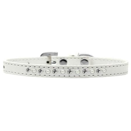 Crystal Collar - mirage 611-04 wt-16 pearl and clear crystal white puppy collar - size 16