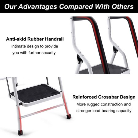 Gymax 2 In 1 Non Slip 4 Step Ladder Folding Stool W