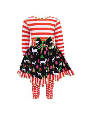 de452ac06 Product Image AnnLoren Girls Christmas Holiday Reindeer and Red Stripe  Print Dress Set