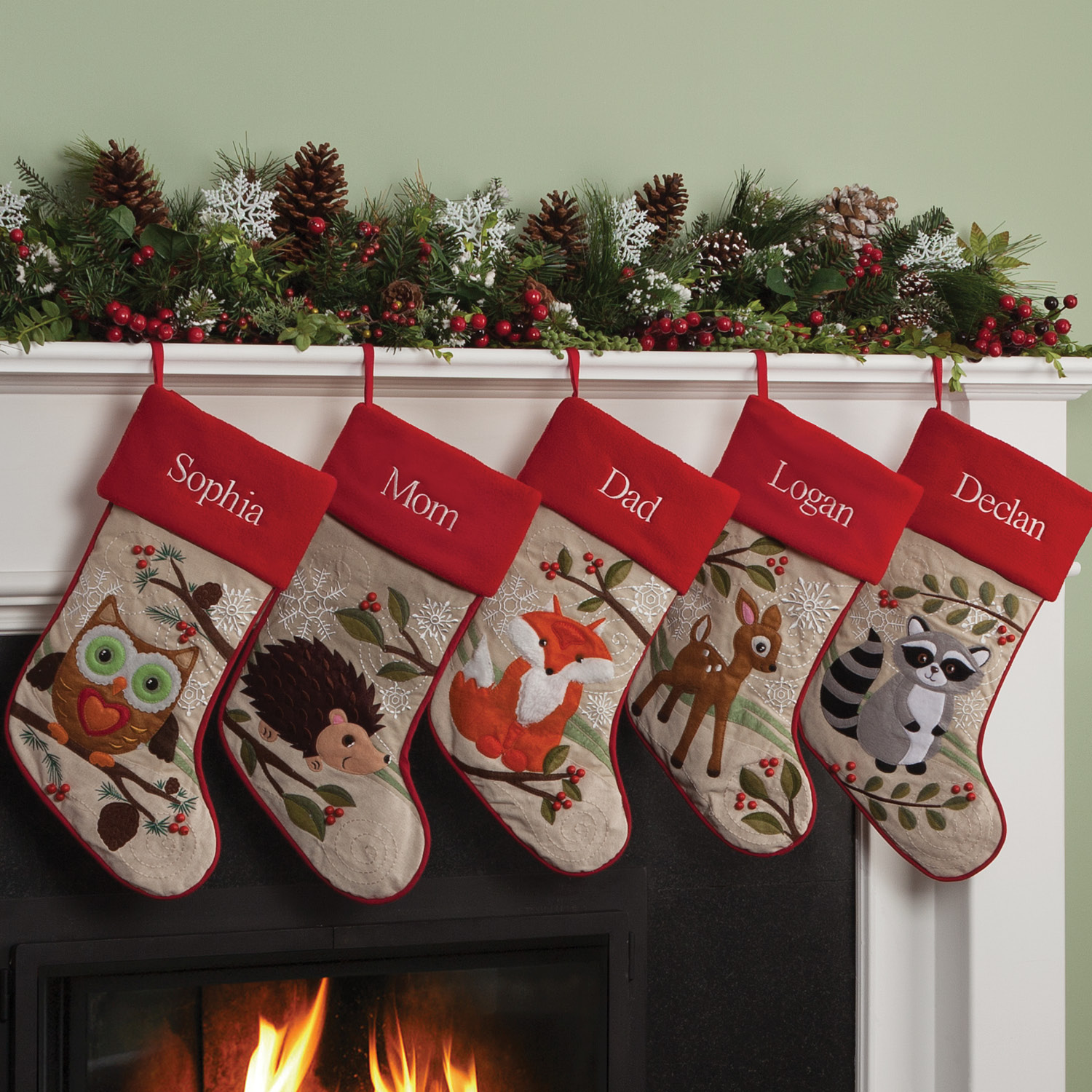 Personalized Forest Friend Christmas Stocking Available In Different Animals