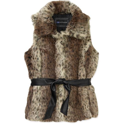 Women's Plus-Size Fur-ocious Chic Faux Fur Belted Vest