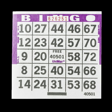 1 on Purple Bingo Paper Cards - UniMax Paper Series - 4 Inch Square Size - 500 Disposable Cards per Pack - No Duplicate - Paper Bingo Cards