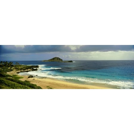 High angle view of surf on the beach South East Coast Oahu Hawaii USA Stretched Canvas - Panoramic Images (36 x