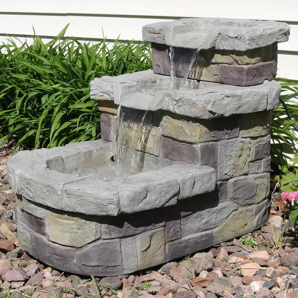 Sunnydaze 3-Tier Brick Steps Outdoor Water Fountain, Patio ...