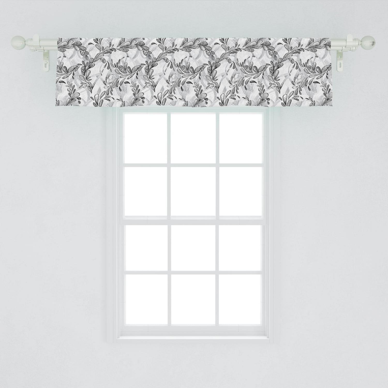 Grunge Window Valance Monochrome Line Art Style Leaves Natural Floral Pattern Sketchy Modern Design Curtain Valance For Kitchen Bedroom Decor With Rod Pocket By Ambesonne Walmart Com Walmart Com