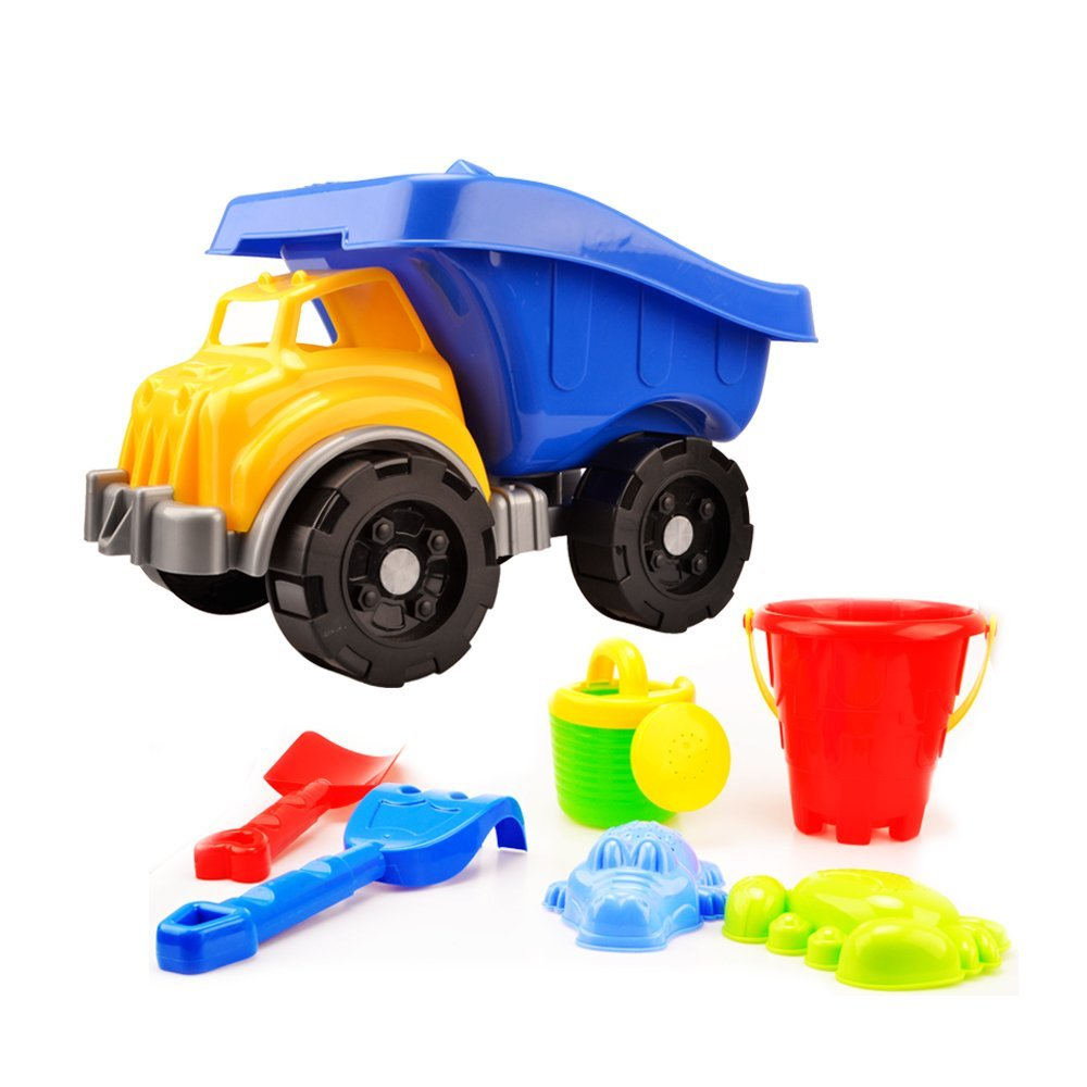 Children Colorful Beach Sand Truck Set Toy for Building on Beach or in Sandbox 7 pieces Kids Summer Toys Car Set by