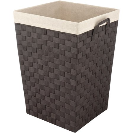 Whitmor Woven Strap Hamper with Liner Espresso