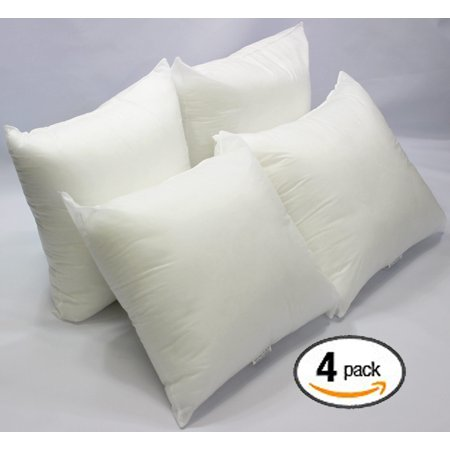 18x18 Throw Pillow Insert.Set Of 4 18 X 18 Premium Hypoallergenic Stuffer Pillow Insert Sham Square Form Polyester Standard White Made In Usa