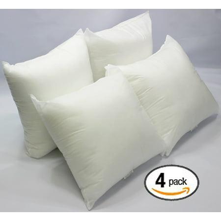 set of 4 18 x 18 premium hypoallergenic stuffer pillow insert sham square form polyester. Black Bedroom Furniture Sets. Home Design Ideas